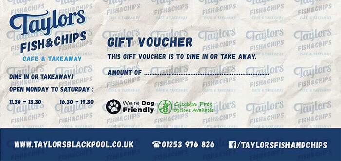 Taylors Fish and Chips Gift Vouchers